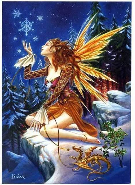 winter fairy and dragon