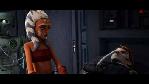 worried ahsoka looks over injured master
