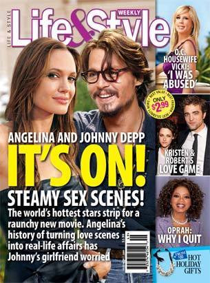 Angelina Jolie, Johnny Depp magazine cover