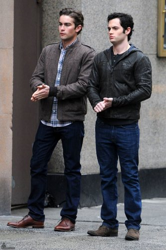 February 24: Chace Crawford on set with Penn Badgley