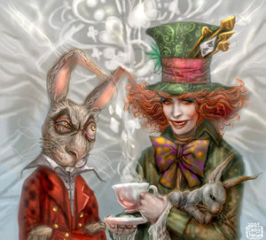 Alice sa lugar ng kamanghaan (2010) wolpeyper entitled March liyebre and Mad Hatter:best friends!