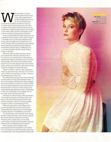 Mia Wasikowska in Sunday Telegraph Magazine