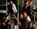 Mulder and Scully playing baseball <3