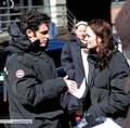 Penn and Leighton behind the set - dan-and-blair photo