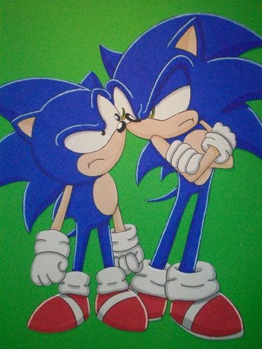 Sonic the Hedgehog wallpaper titled Sonic V.S Sonic