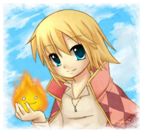 Howl and Calcifer - howls-moving-castle Photo