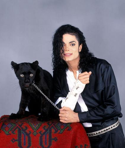 MJ With Young Panther: Large 照片