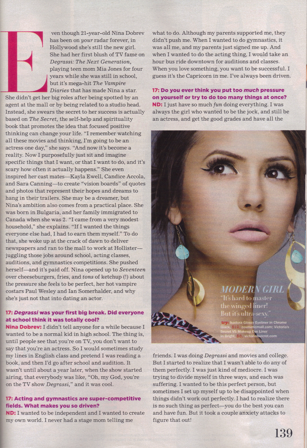 Nina Dobrev Seventeen April 2010 scans