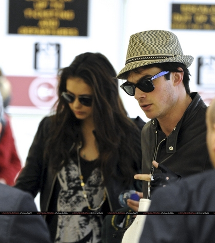 Ian Somerhalder and Nina Dobrev wallpaper titled Nina Dobrev and Ian Somerhalder arrive into LAX Airport together - March 6