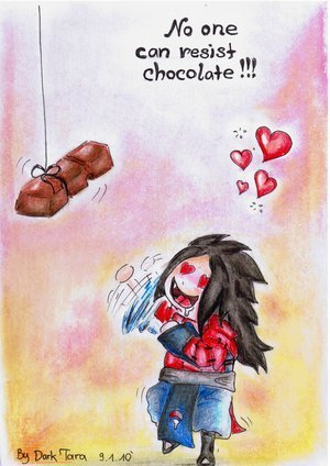 No one can resist chocolate!! not even madara XD