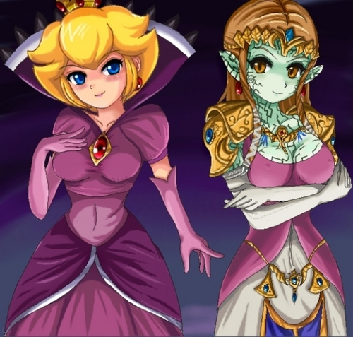 Shadow Queen Peach and Evil Zelda