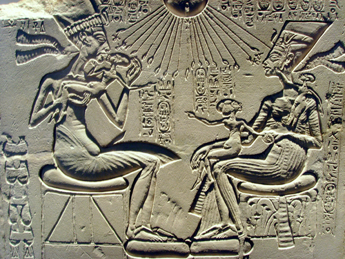 AKHENATEN WITH NEFERTITI AND THEIR FAMILY