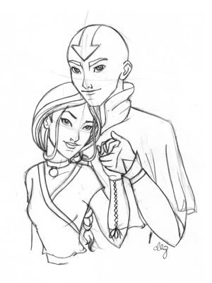 Avatar The Last Airbender kertas dinding titled Aang and Katara