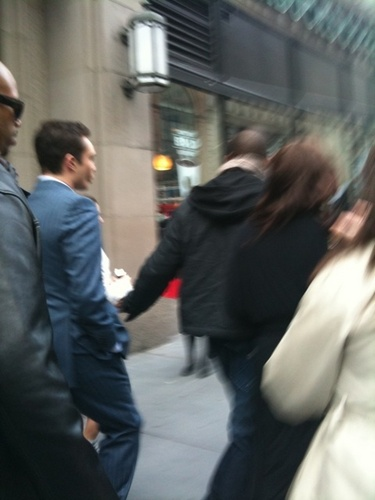 Ed & Leighton walking to (or from?) set - March 10