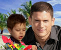 Michael Scofield with his son MJ