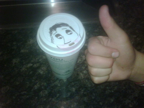 MDR joe draw this on demi's cofffee :)