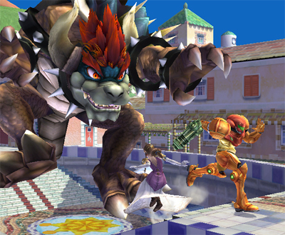 Giga Bowser rapaging in Isle Delfino