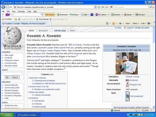 """Kowalski's """"Wikipedia"""" Page"""