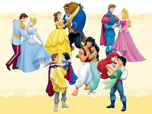 Disney Princess karatasi la kupamba ukuta called Princesses and their Prince