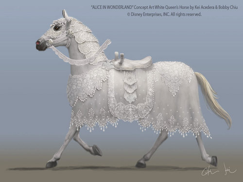 Alice in Wonderland (2010) wallpaper entitled White Queen's Horse Concept Art