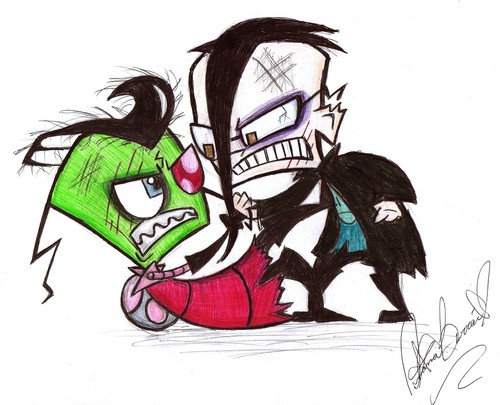 Zim and Dib Fight