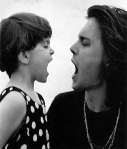 Bruce Weber photo session showing Johnny with his niece Megan, 1992