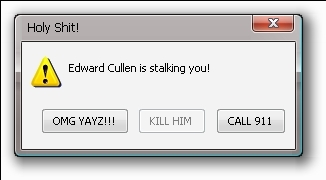 Edward Cullen is stalking wewe