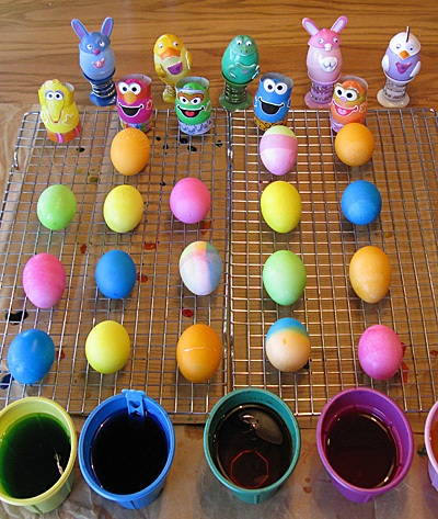 dying easter eggs