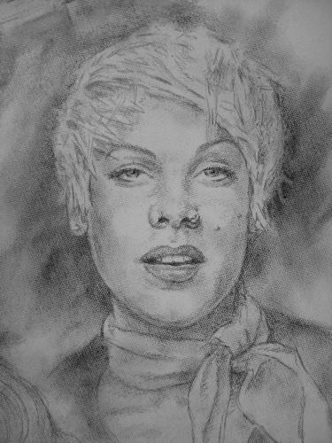 Portrait of P!nk on a canvas