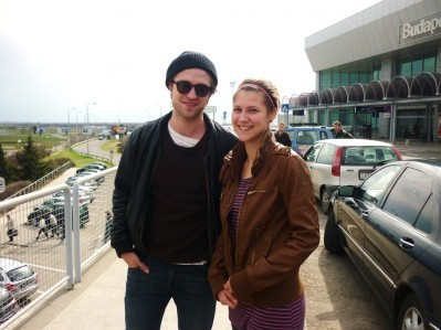 Robert with a Fan at Budapest airport