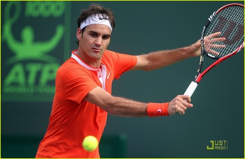 Roger Federer at the Sony Ericsson Open 2010 tennis tournament in Miami