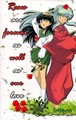 inuyasha and kagome around roses