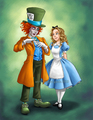 Alice and Mad Hatter - alice-in-wonderland-2010 fan art