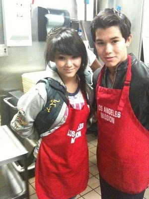Booboo Stewart & Fivel at the LA Mission Easter for Homeless