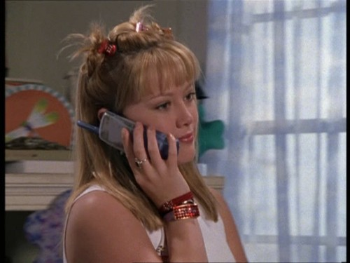 "Lizzie on the phone in ""Lizzie and Kate's Adventure""."
