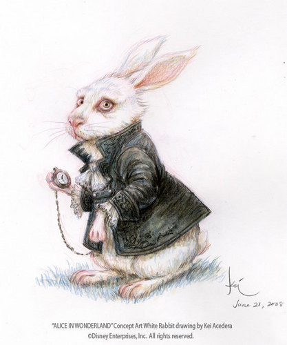 Alice in Wonderland (2010) kertas dinding entitled Nivens McTwisp (White Rabbit) Concept Art