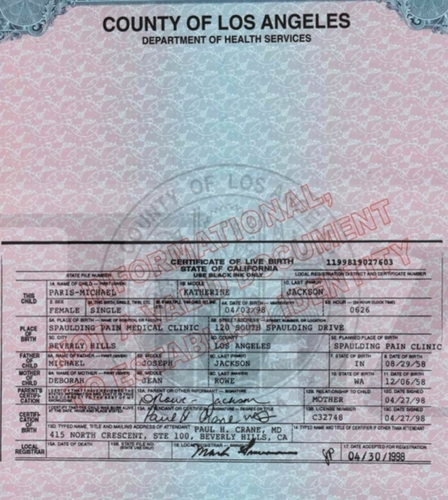 PARIS BIRTH CERTIFICATE