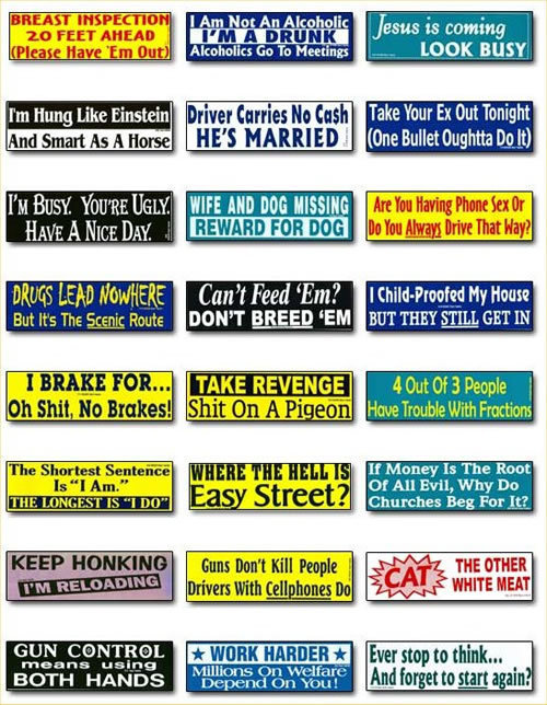 Random funny bumper stickers