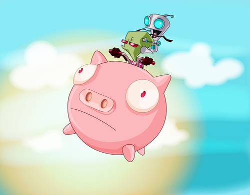 gir and zim on a piggy! - gir Fan Art