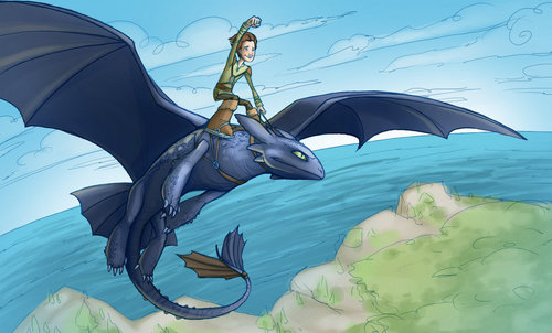 toothless and hiccup - how-to-train-your-dragon Fan Art