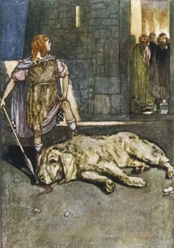 """Cuchulain Slays the Hound of Culain"", - greek-mythology Photo"