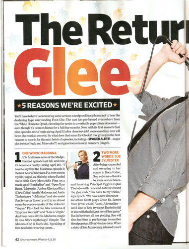 'The Return of Glee' in Entertainment Weekly [1]