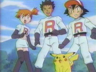 Ash, Misty, and Brock dressed as Team Rocket