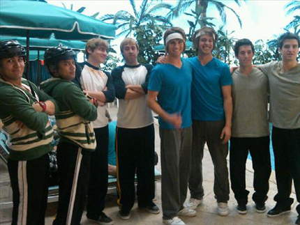 BTR and their stunt doubles!