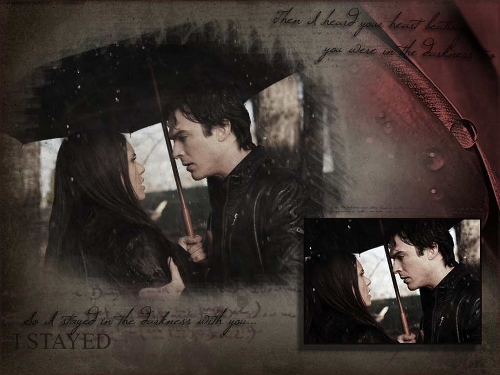 Vampires Diaries Damon Wallpaper Damon Elena The-vampire