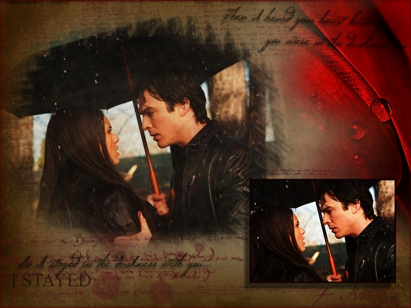 vampire diaries wallpaper elena. Damon amp; Elena - The Vampire