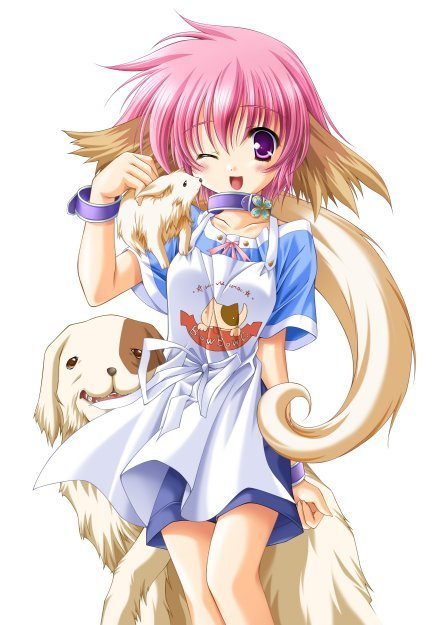 Razas para mascota. Girl-With-Dogs-inu-ookami-anime-characters-11331339-441-625