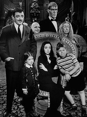 John Astin and the cast of the Addams Family