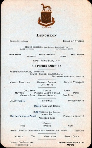 Menus and Vintage Papers (1900)