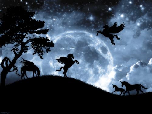 Unicorns wallpaper titled Moonlight